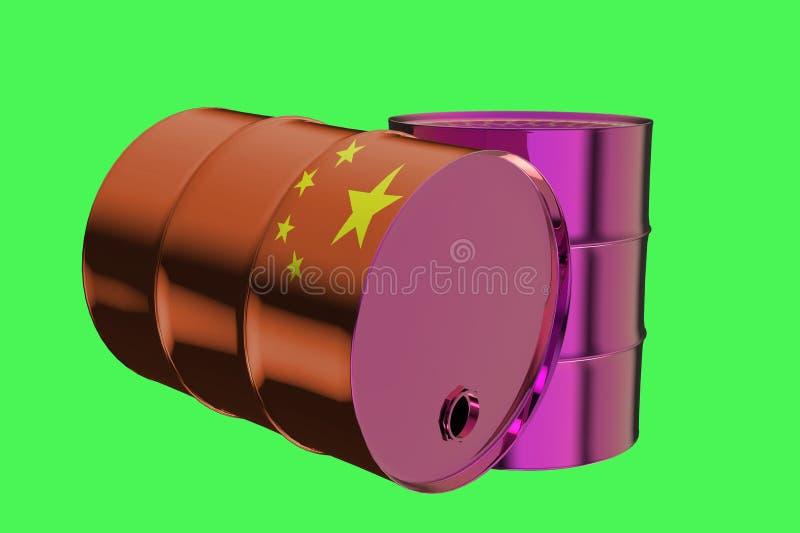 Δύο βιομηχανικά βαρέλια πετρελαίου μετάλλων με την τρισδιάστατη απόδοση σημαιών της Κίνας διανυσματική απεικόνιση