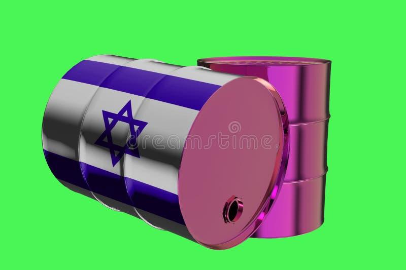 Δύο βιομηχανικά βαρέλια πετρελαίου μετάλλων με την τρισδιάστατη απόδοση σημαιών του Ισραήλ απεικόνιση αποθεμάτων