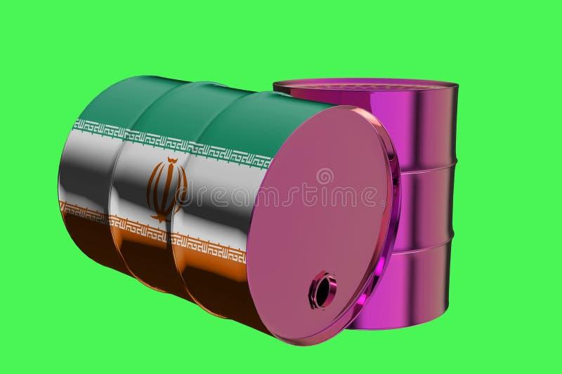 Δύο βιομηχανικά βαρέλια πετρελαίου μετάλλων με την τρισδιάστατη απόδοση σημαιών του Ιράν απεικόνιση αποθεμάτων