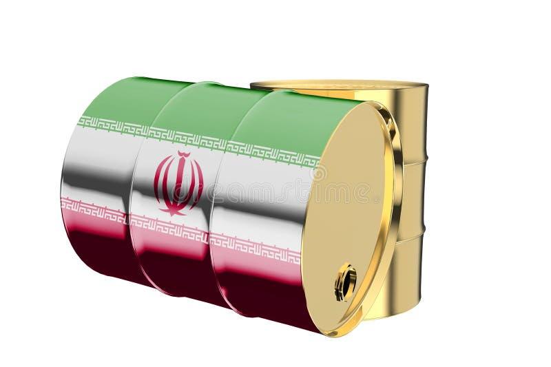 Δύο βιομηχανικά βαρέλια πετρελαίου μετάλλων με την τρισδιάστατη απόδοση σημαιών του Ιράν ελεύθερη απεικόνιση δικαιώματος