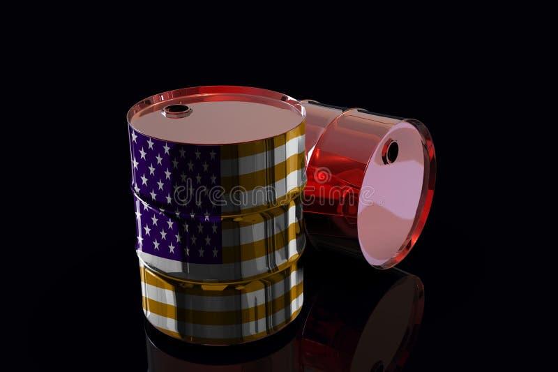 Δύο βιομηχανικά βαρέλια πετρελαίου μετάλλων με την τρισδιάστατη απόδοση ΑΜΕΡΙΚΑΝΙΚΩΝ σημαιών ελεύθερη απεικόνιση δικαιώματος