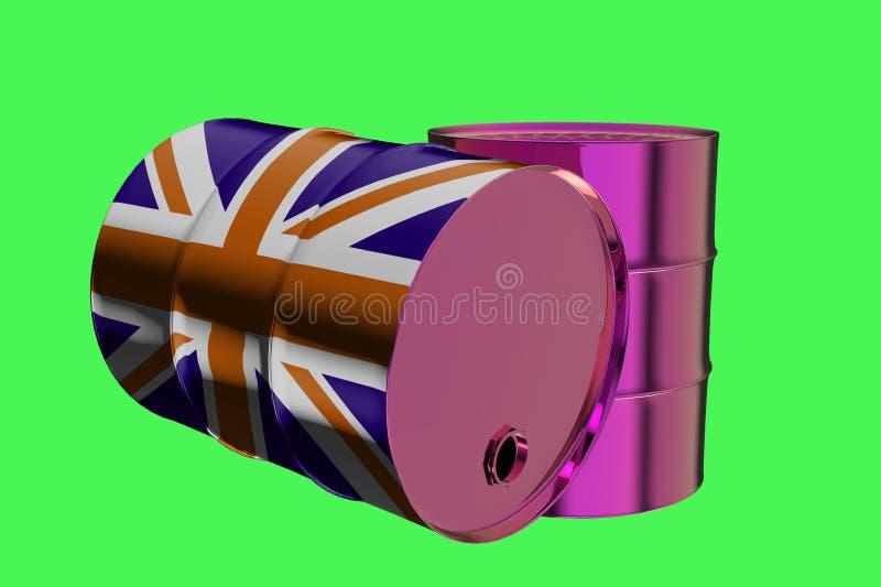 Δύο βιομηχανικά βαρέλια πετρελαίου μετάλλων με τη βρετανική τρισδιάστατη απόδοση σημαιών απεικόνιση αποθεμάτων