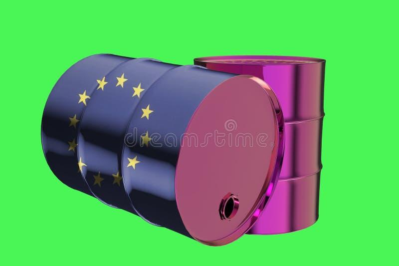 Δύο βιομηχανικά βαρέλια πετρελαίου μετάλλων με τη σημαία της Ευρωπαϊκής Ένωσης τρισδιάστατη ελεύθερη απεικόνιση δικαιώματος