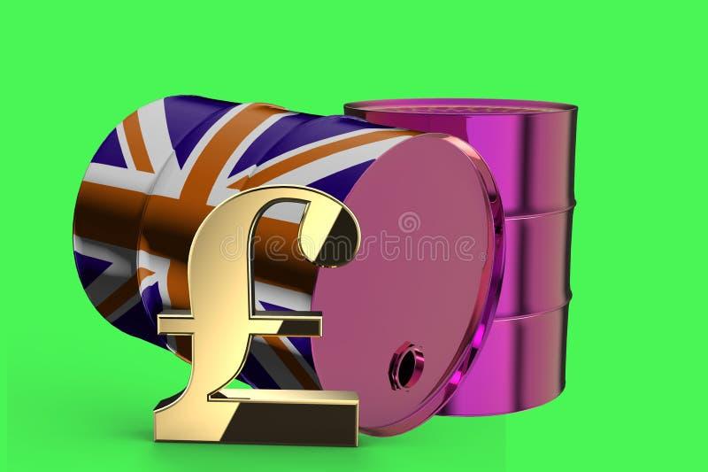 Δύο βιομηχανικά βαρέλια πετρελαίου μετάλλων με το σημάδι λιβρών και τη βρετανική τρισδιάστατη απόδοση σημαιών διανυσματική απεικόνιση