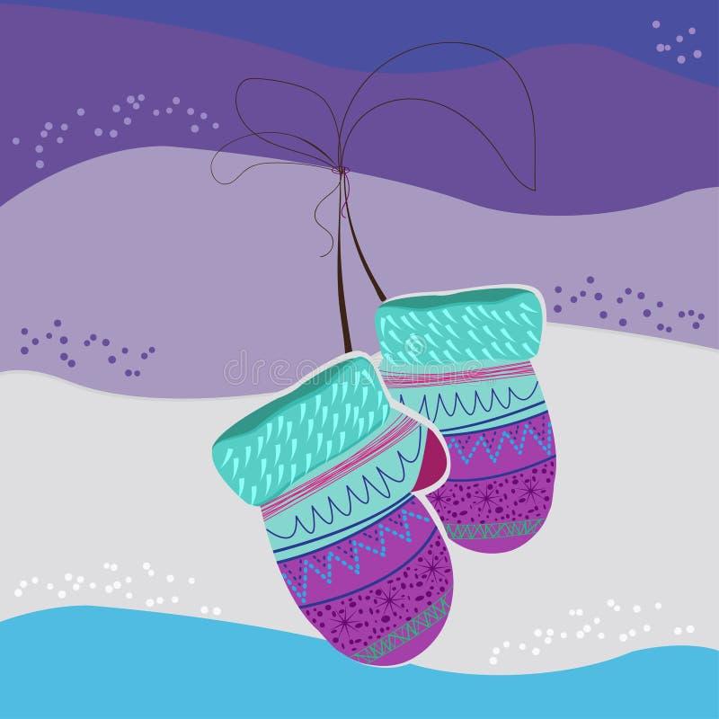 Δύο γάντια για τα δώρα που κρεμούν σε ένα χρωματισμένο υπόβαθρο ελεύθερη απεικόνιση δικαιώματος