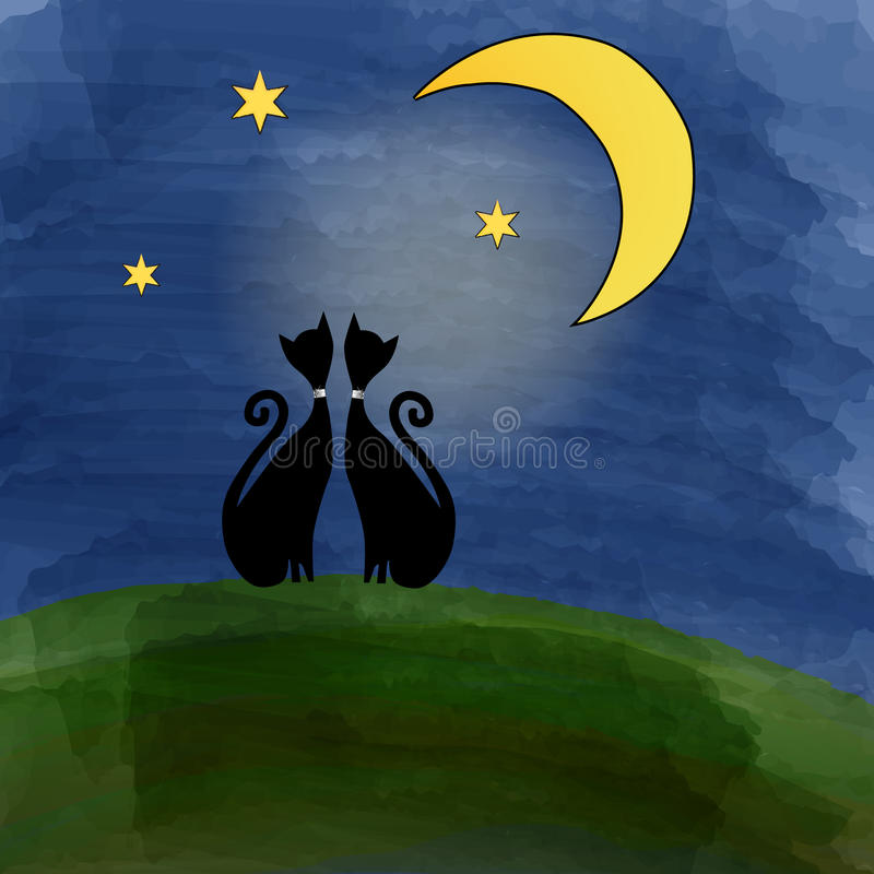 Δύο γάτες σε ένα λιβάδι κάτω από το φεγγάρι απεικόνιση αποθεμάτων