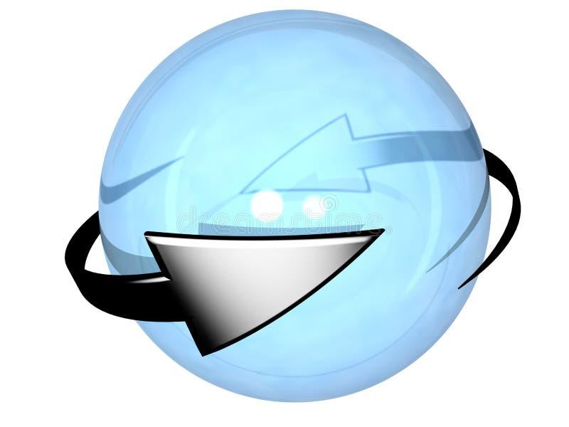 Δύο γκρίζα κυκλικά βέλη που γυρίζουν γύρω από μια σφαίρα διανυσματική απεικόνιση