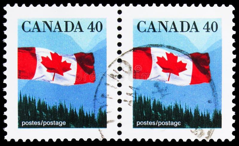 Δύο γραμματόσημα τυπωμένα στον Καναδά δείχνουν The Canadian Flag over Forest, Definition 1989-2005: Καναδική σειριακή σημαία, περ στοκ εικόνα με δικαίωμα ελεύθερης χρήσης