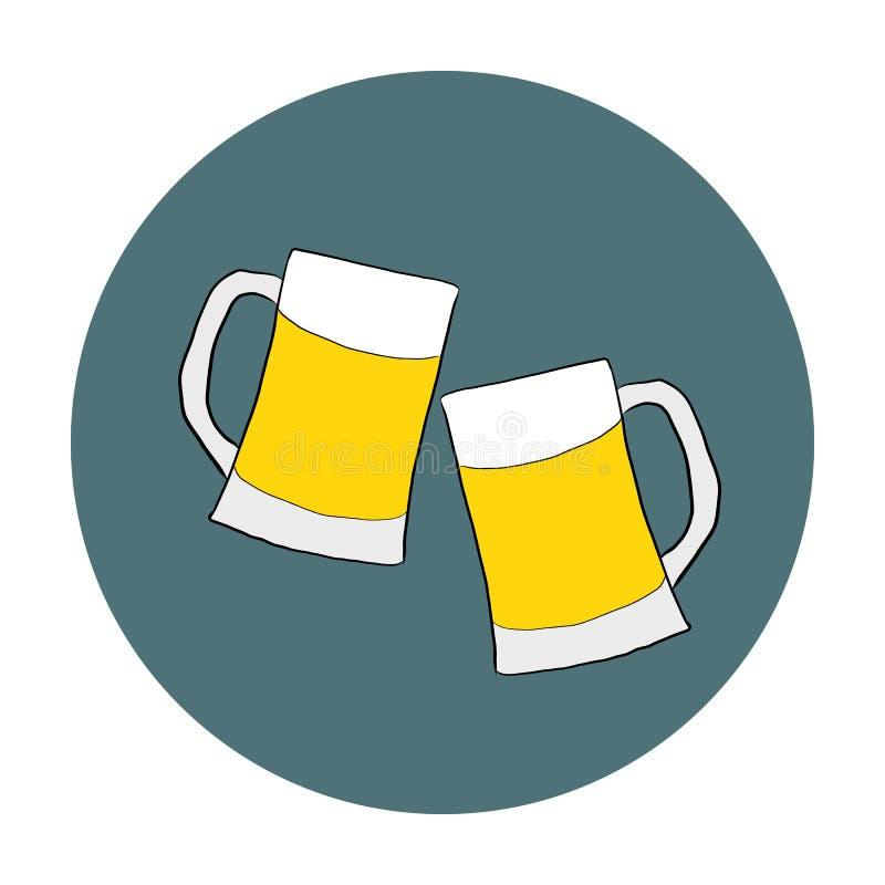 Δύο γυαλιά με την μπύρα επάνω διανυσματική απεικόνιση