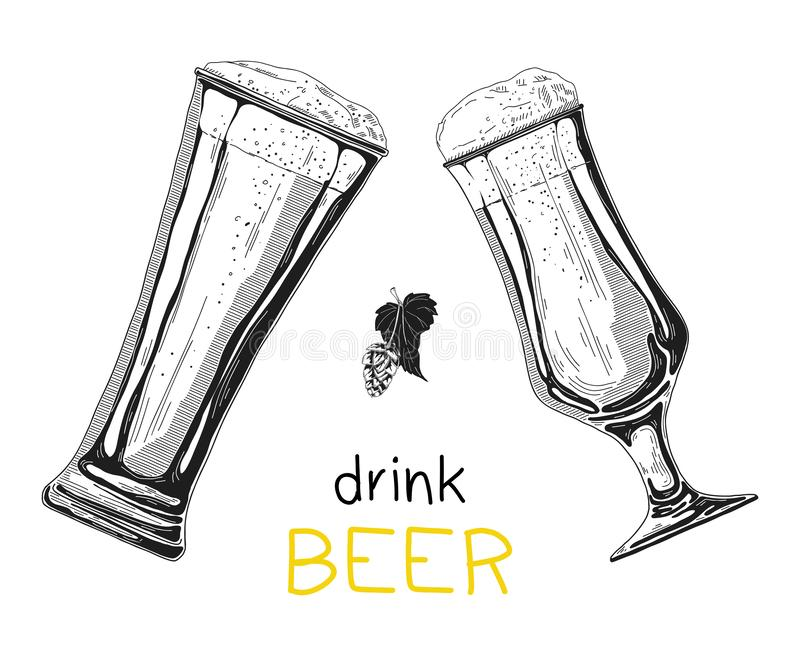 Δύο γυαλιά με την μπύρα σε ένα άσπρο υπόβαθρο επίσης corel σύρετε το διάνυσμα απεικόνισης διανυσματική απεικόνιση