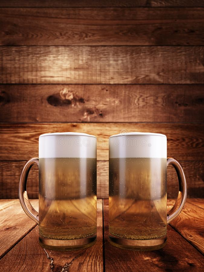 Δύο γυαλιά που γεμίζουν με τον αφρό μπύρας απεικόνιση αποθεμάτων