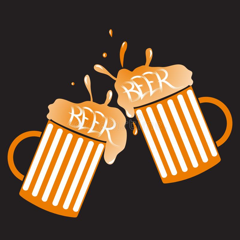 Δύο γυαλιά της διανυσματικής απεικόνισης μπύρας απεικόνιση αποθεμάτων