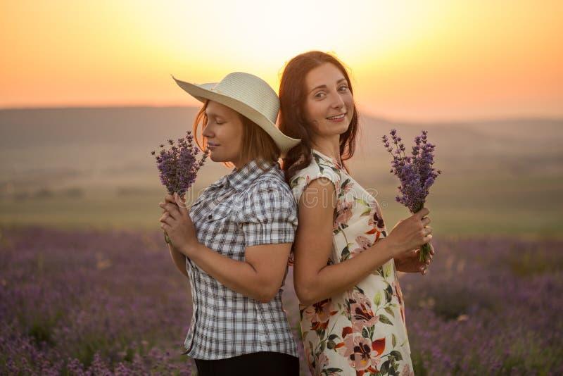 Δύο γυναίκες με lavender τις δέσμες στο ηλιοβασίλεμα στοκ φωτογραφίες με δικαίωμα ελεύθερης χρήσης