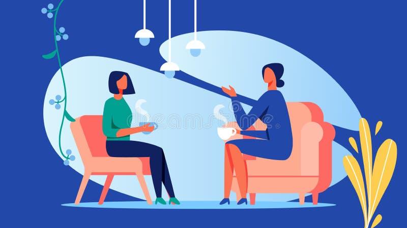 Δύο γυναίκες μιλούν στο δωμάτιο E r διανυσματική απεικόνιση