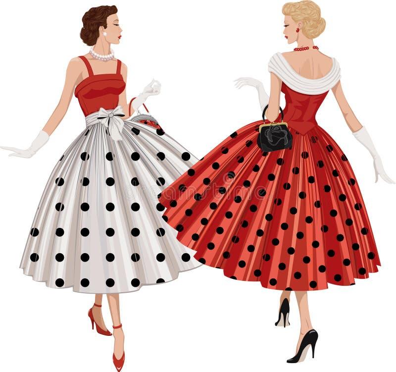 Δύο γυναίκες μόδας διανυσματική απεικόνιση