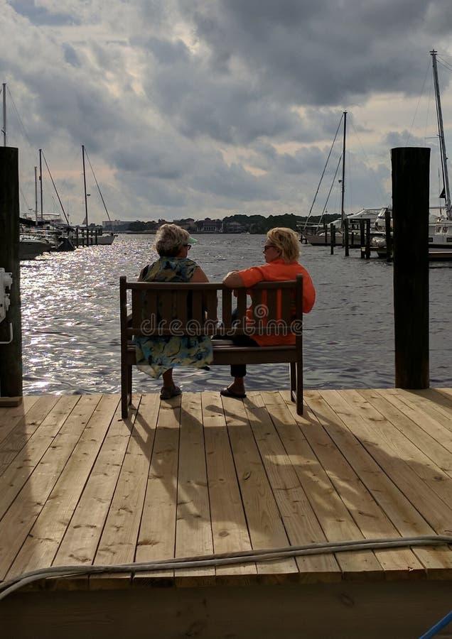 Δύο γυναίκες που απολαμβάνουν τη μαρίνα στοκ φωτογραφία με δικαίωμα ελεύθερης χρήσης
