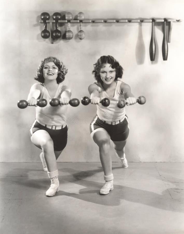 Δύο γυναίκες που ασκούν με τους αλτήρες στη γυμναστική στοκ εικόνα με δικαίωμα ελεύθερης χρήσης