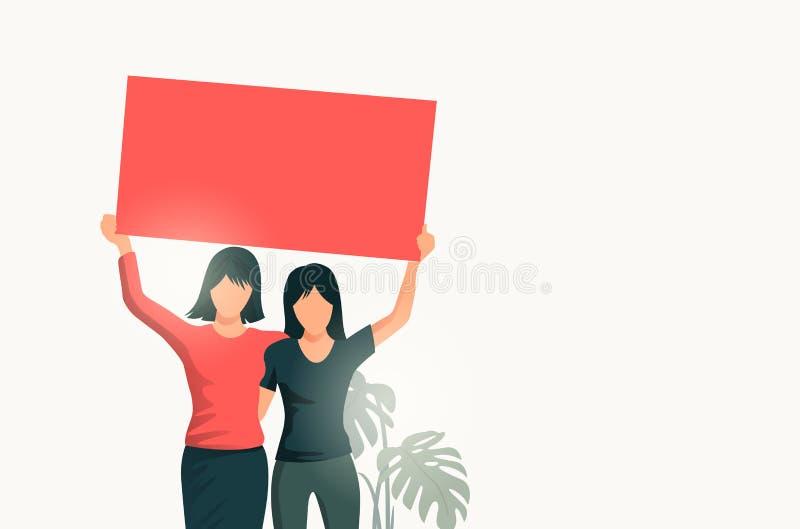 Δύο γυναίκες που κρατούν ψηλά ένα κενό σημάδι ελεύθερη απεικόνιση δικαιώματος