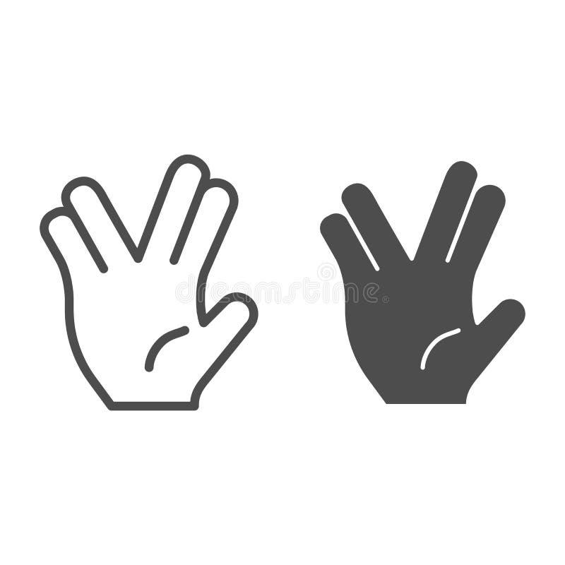 Δύο δάχτυλα διαιρούν τη γραμμή και glyph το εικονίδιο χειρονομίας Χέρι τη μέση χωριστή διανυσματική απεικόνιση δάχτυλων που απομο διανυσματική απεικόνιση