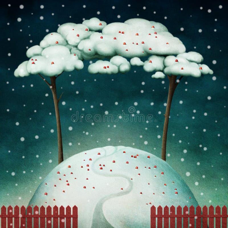 Δύο δέντρα στο χιονώδη λόφο διανυσματική απεικόνιση
