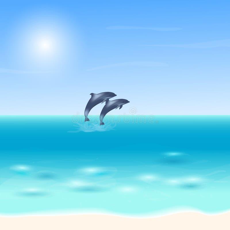 Δύο δελφίνια που πηδούν από τη θάλασσα Μπλε υπόβαθρο θάλασσας με τα δελφίνια επίσης corel σύρετε το διάνυσμα απεικόνισης διανυσματική απεικόνιση