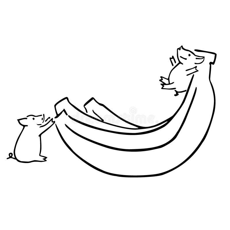 Δύο διανυσματικοί αστείοι χοίροι και μπανάνα κινούμενων σχεδίων ελεύθερη απεικόνιση δικαιώματος