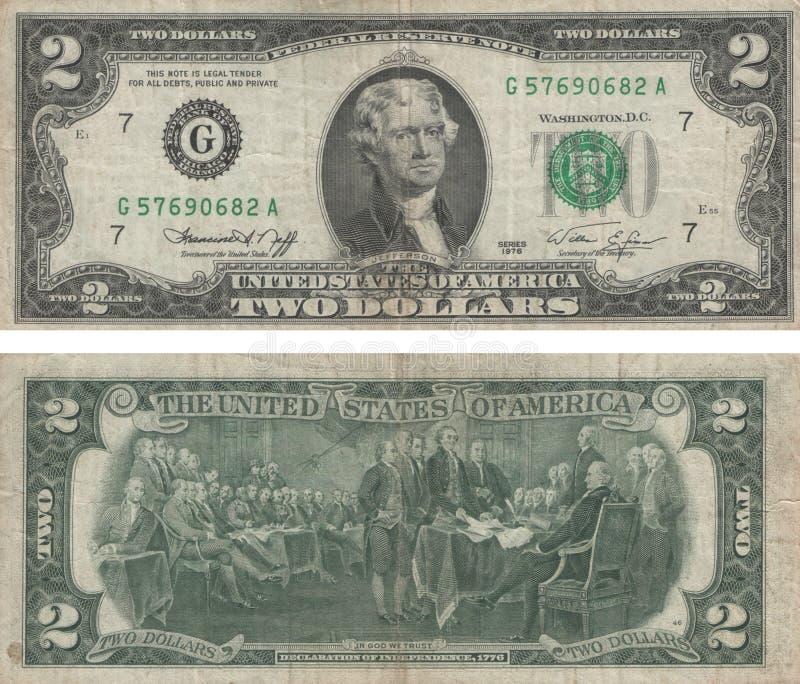 Δύο δολάρια στοκ φωτογραφίες με δικαίωμα ελεύθερης χρήσης