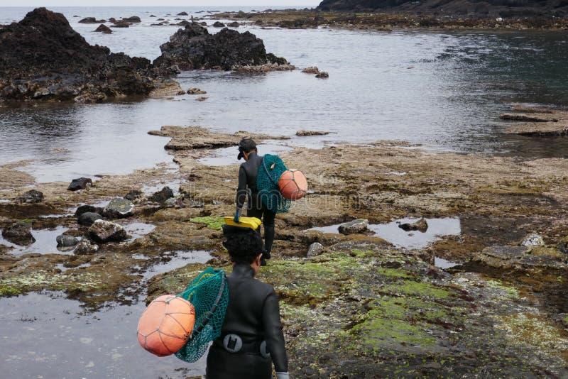 Δύο δύτες Haenyo που πηγαίνουν βλέπουν, νησί Jeju, Νότια Κορέα στοκ εικόνες