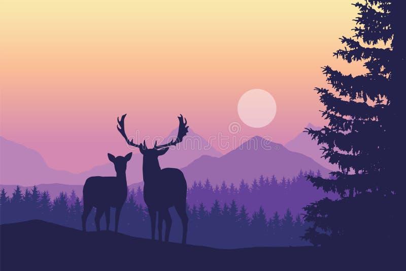 Δύο ελάφια που στέκονται στο κωνοφόρο δάσος κάτω από τα βουνά και το yello διανυσματική απεικόνιση