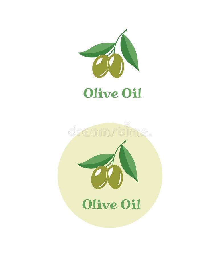 Δύο ελιές στον κλάδο Λογότυπο ελαιολάδου, εικονίδιο ελιών διανυσματική απεικόνιση
