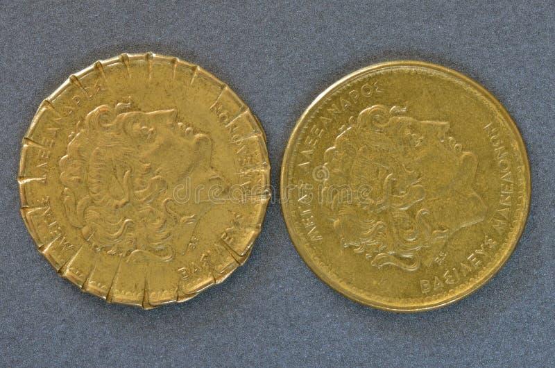 Δύο ελληνικά νομίσματα Ντίραμ στοκ φωτογραφία