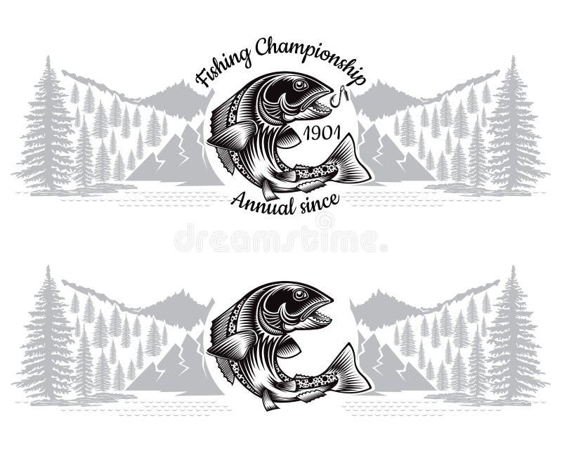 Δύο εμβλήματα με τα ψάρια σολομών κάμπτουν τη σκιαγραφία με τη διασχισμένη ράβδο αλιείας το ύφος με το τοπίο Λογότυπο για την αλι διανυσματική απεικόνιση