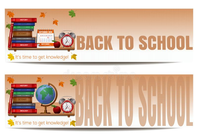 Δύο εμβλήματα με τις σχολικές προμήθειες πίσω σχολείο διανυσματική απεικόνιση