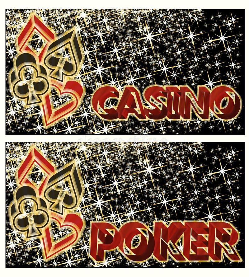 Δύο εμβλήματα πόκερ χαρτοπαικτικών λεσχών, διάνυσμα διανυσματική απεικόνιση