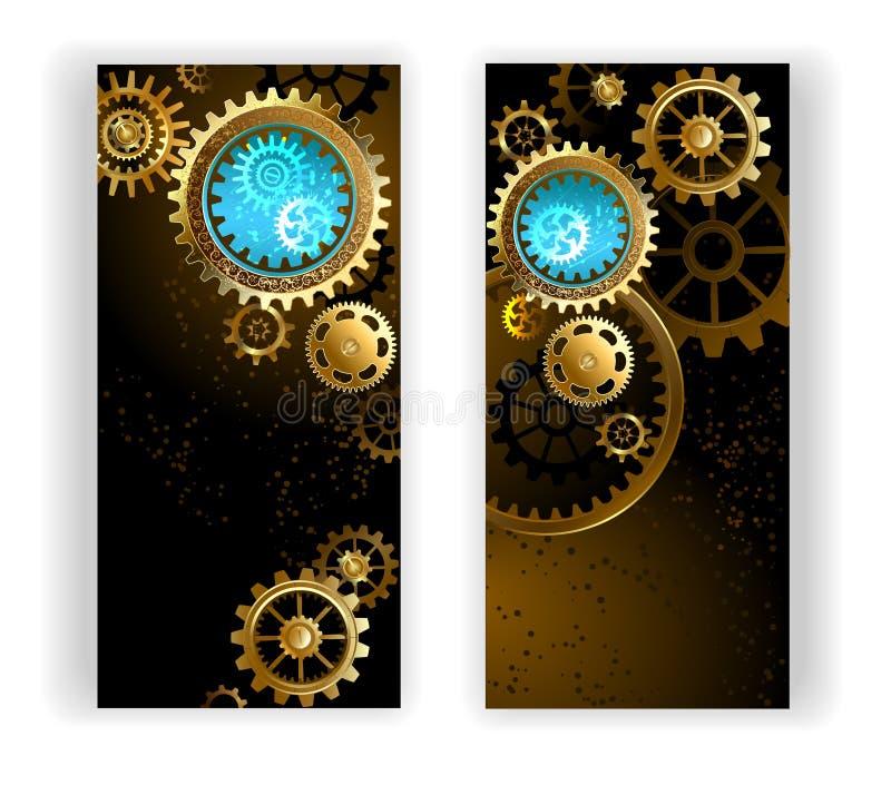 Δύο εμβλήματα με τα εργαλεία διανυσματική απεικόνιση