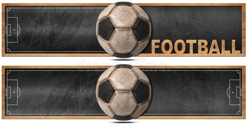 Δύο εμβλήματα ποδοσφαίρου με τον πίνακα ελεύθερη απεικόνιση δικαιώματος