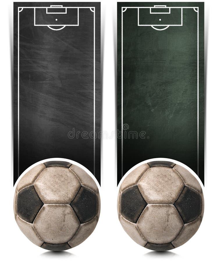 Δύο εμβλήματα ποδοσφαίρου με τον πίνακα διανυσματική απεικόνιση