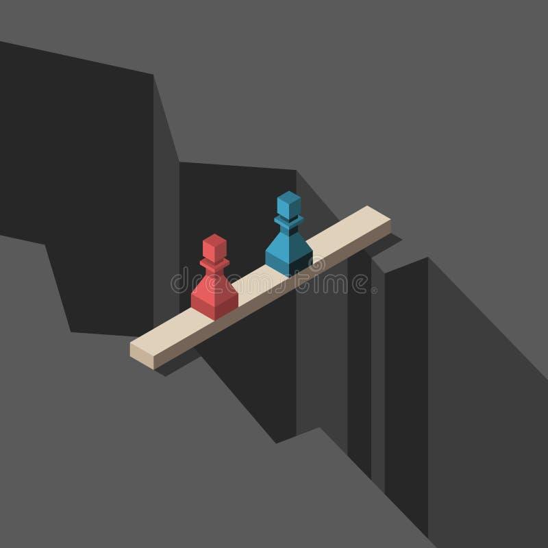 Δύο ενέχυρα στη γέφυρα διανυσματική απεικόνιση
