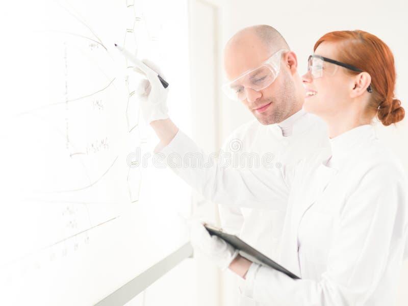 Δύο επιστήμονες που διοργανώνουν μια συζήτηση στοκ φωτογραφία με δικαίωμα ελεύθερης χρήσης