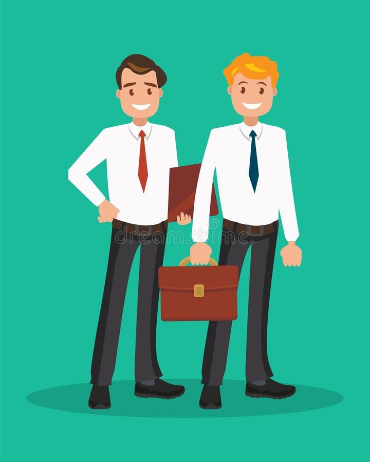 Δύο επιτυχείς επιχειρηματίες στα άσπρα πουκάμισα απεικόνιση αποθεμάτων