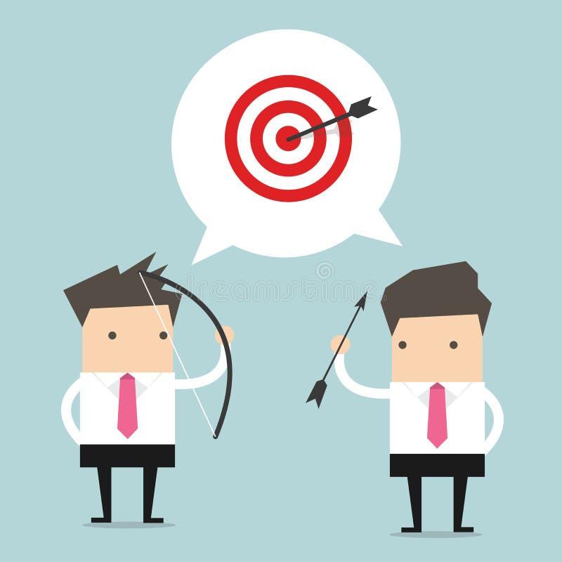 Δύο επιχειρηματίας και ένας στόχος ελεύθερη απεικόνιση δικαιώματος