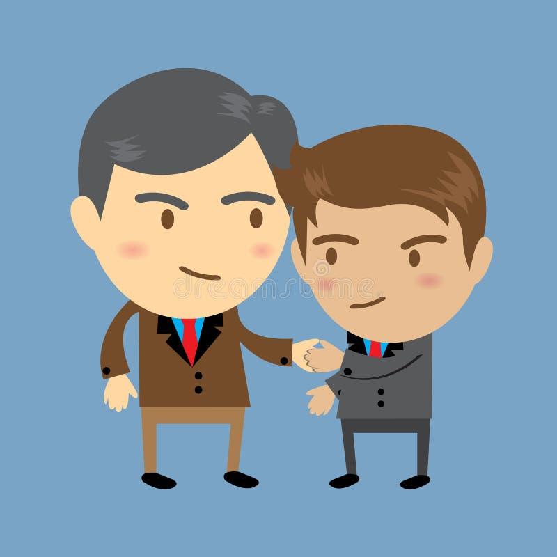 Δύο επιχειρηματίες, ένας πρεσβύτερος και χέρια ενός νέα, τινάγματος, επιχειρησιακή έννοια ελεύθερη απεικόνιση δικαιώματος