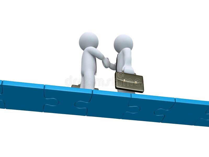 Δύο επιχειρηματίες κάνουν μια διαπραγμάτευση σε μια γέφυρα γρίφων διανυσματική απεικόνιση