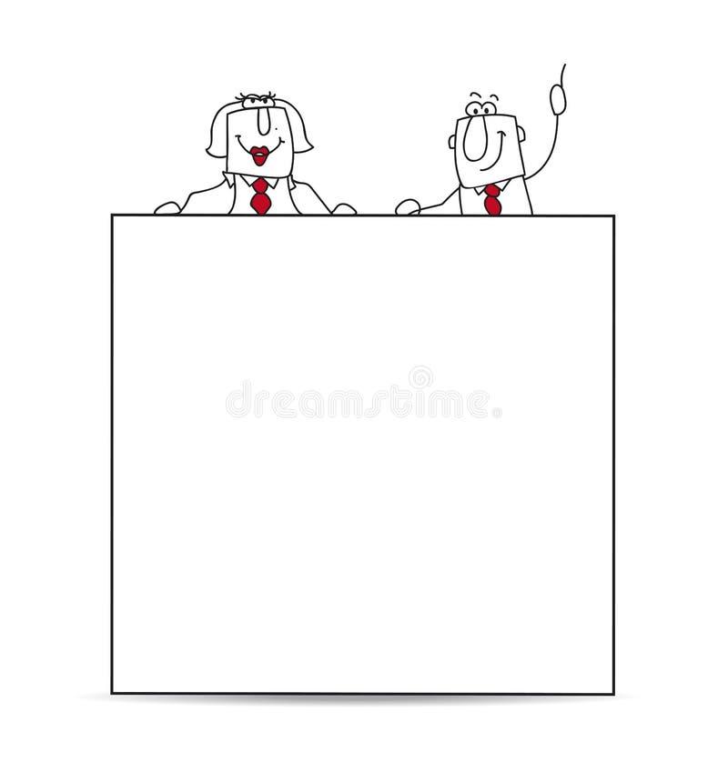 Δύο επιχειρηματίες και μια λευκιά αφίσσα ελεύθερη απεικόνιση δικαιώματος