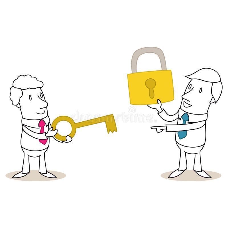 Δύο επιχειρηματίες με το κλειδί και την κλειδαριά ελεύθερη απεικόνιση δικαιώματος