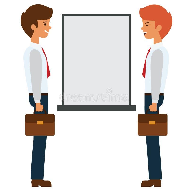 Δύο επιχειρηματίες που μιλούν κοντά στην παρουσίαση επιβιβάζονται στην επίπεδη διανυσματική έννοια απεικόνισης κινούμενων σχεδίων ελεύθερη απεικόνιση δικαιώματος