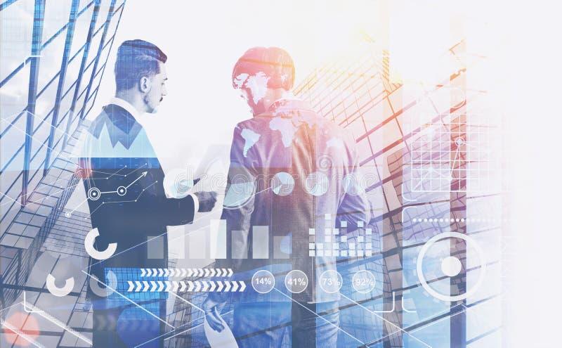 Δύο επιχειρηματίες που μιλούν στην πόλη, infographics διανυσματική απεικόνιση