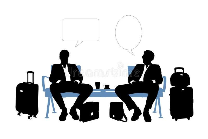Δύο επιχειρηματίες που μιλούν στο σαλόνι αερολιμένων απεικόνιση αποθεμάτων