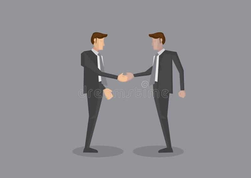 Δύο επιχειρηματίες που τινάζουν διανυσματική απεικόνιση σώματος χεριών την πλήρη ελεύθερη απεικόνιση δικαιώματος