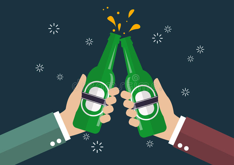 Δύο επιχειρηματίες που ψήνουν το μπουκάλι της μπύρας διανυσματική απεικόνιση
